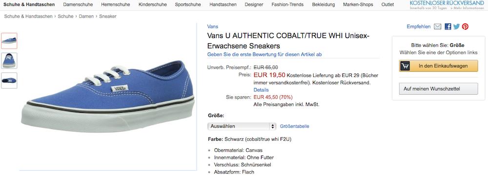 Vans-Angebot-Blau
